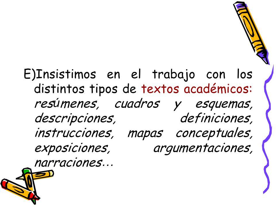 E)Insistimos en el trabajo con los distintos tipos de textos académicos: resúmenes, cuadros y esquemas, descripciones, definiciones, instrucciones, mapas conceptuales, exposiciones, argumentaciones, narraciones…