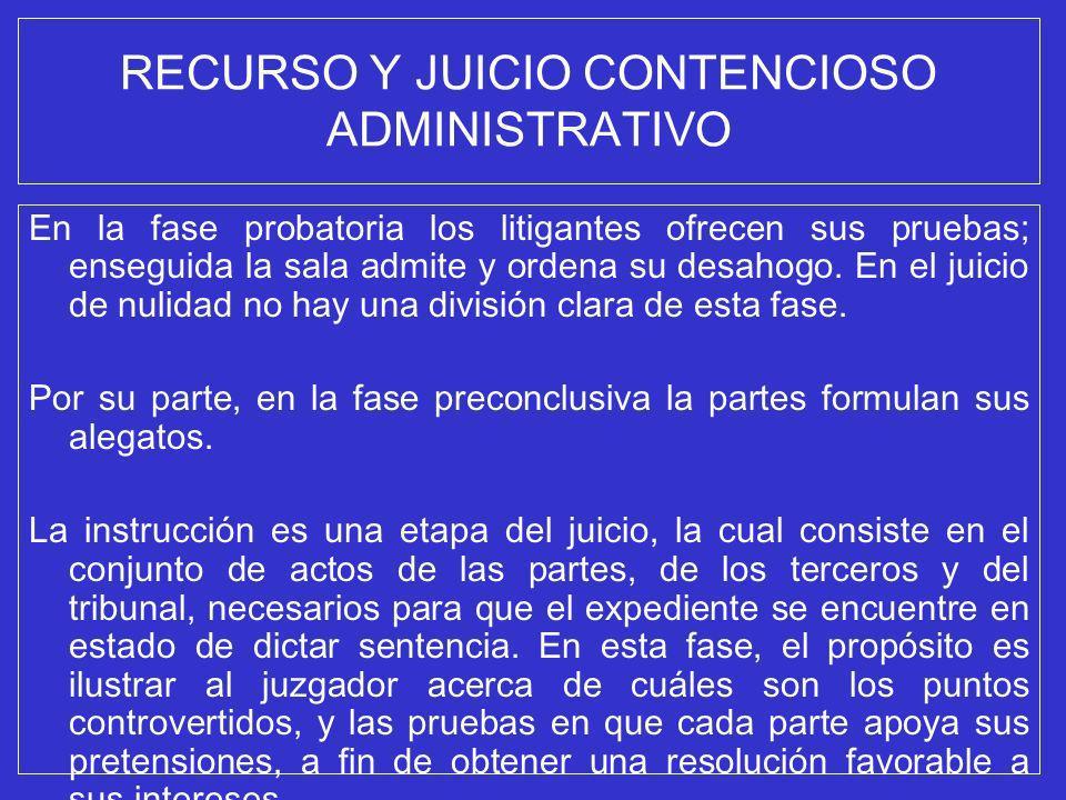 RECURSO Y JUICIO CONTENCIOSO ADMINISTRATIVO