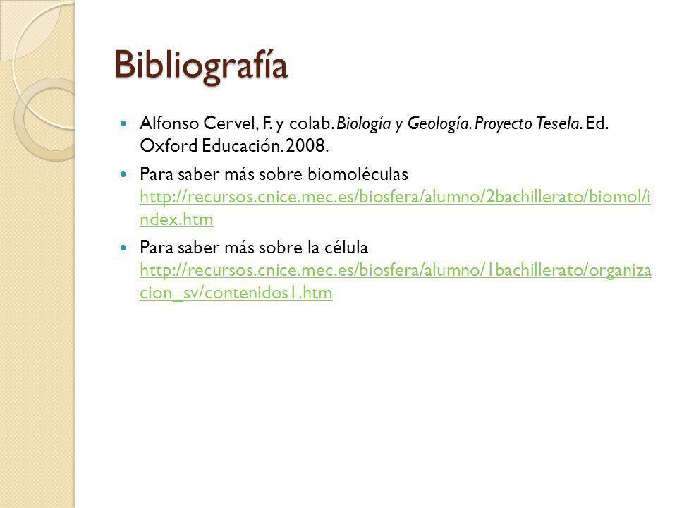 Bibliografía Alfonso Cervel, F. y colab. Biología y Geología. Proyecto Tesela. Ed. Oxford Educación. 2008.