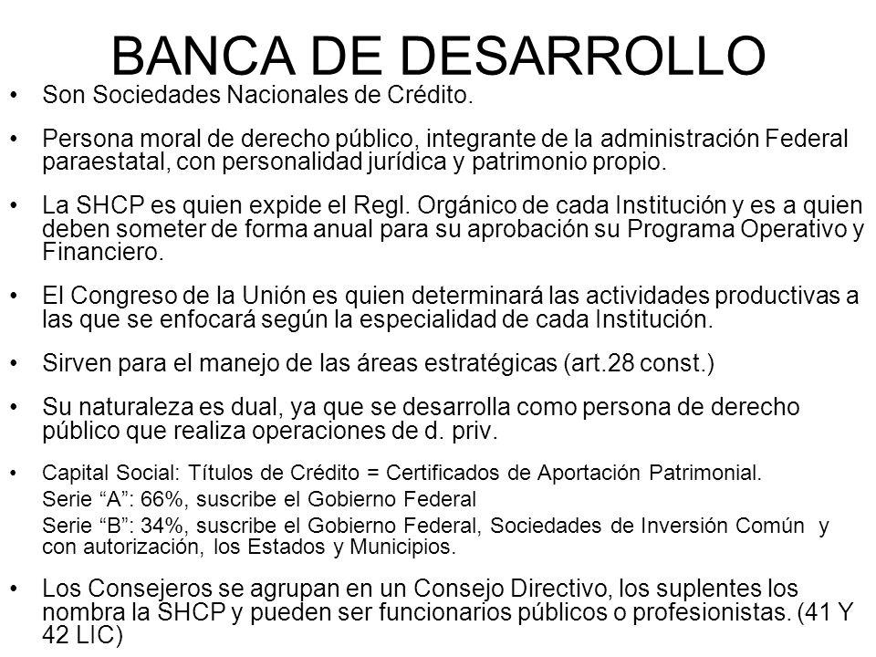 BANCA DE DESARROLLO Son Sociedades Nacionales de Crédito.