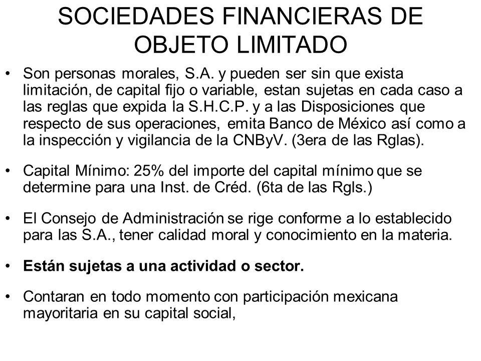 SOCIEDADES FINANCIERAS DE OBJETO LIMITADO