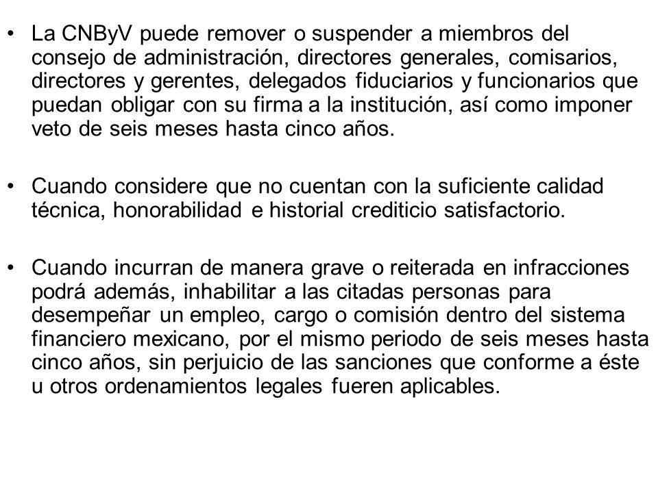 La CNByV puede remover o suspender a miembros del consejo de administración, directores generales, comisarios, directores y gerentes, delegados fiduciarios y funcionarios que puedan obligar con su firma a la institución, así como imponer veto de seis meses hasta cinco años.