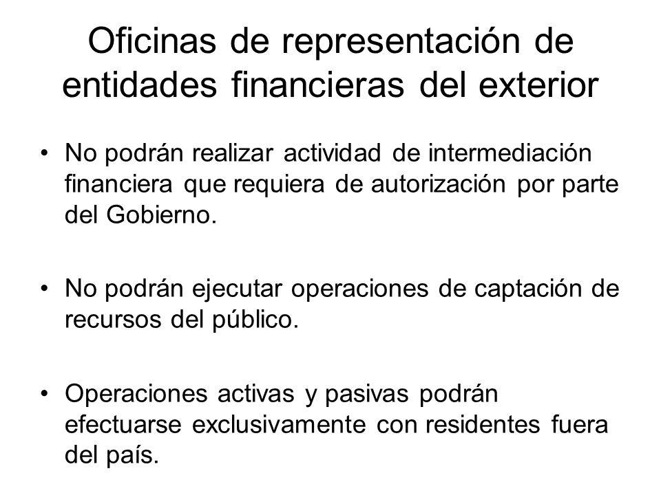 Oficinas de representación de entidades financieras del exterior