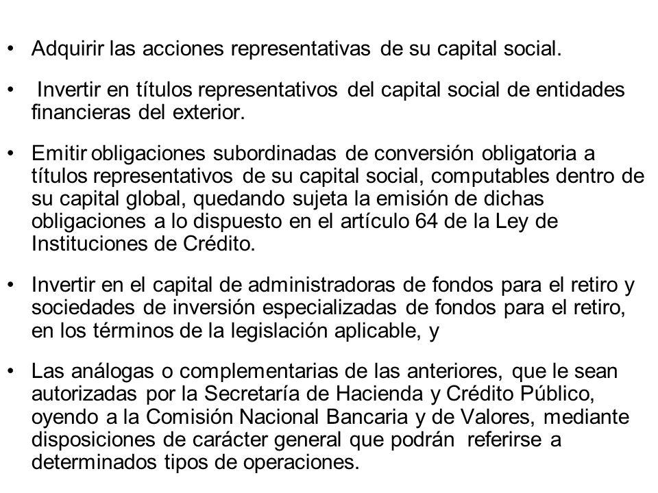 Adquirir las acciones representativas de su capital social.