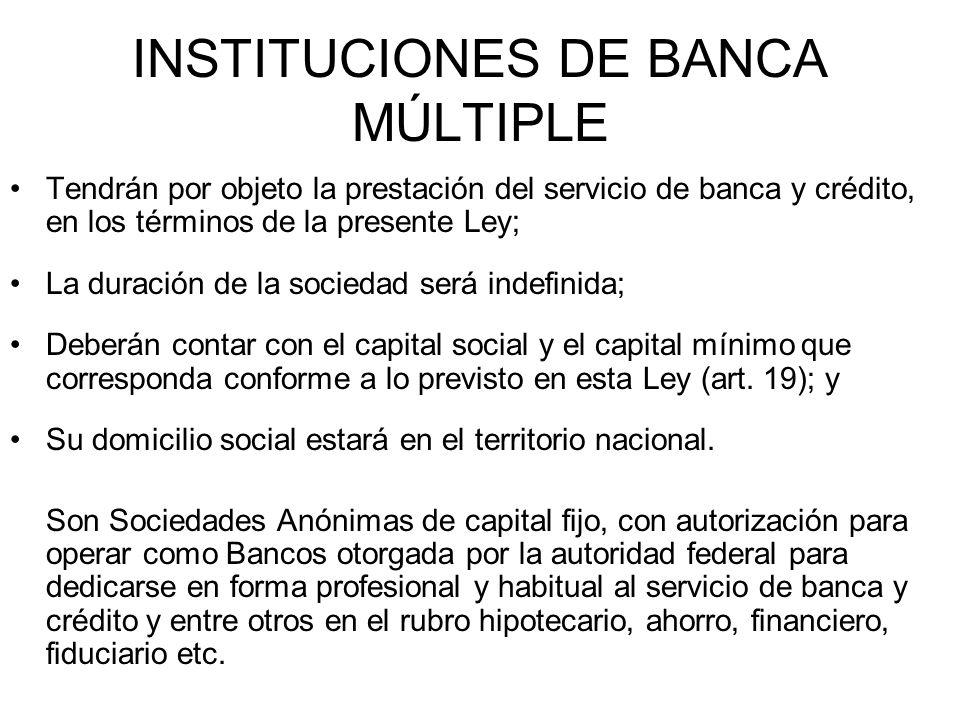 INSTITUCIONES DE BANCA MÚLTIPLE