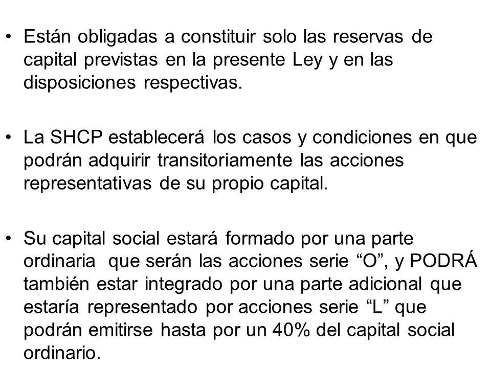 Están obligadas a constituir solo las reservas de capital previstas en la presente Ley y en las disposiciones respectivas.