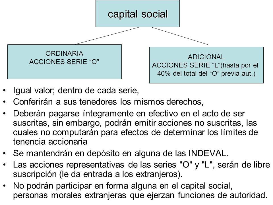 capital social Igual valor; dentro de cada serie,