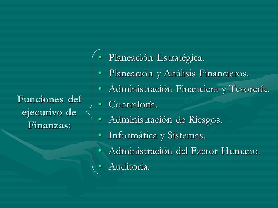 Funciones del ejecutivo de Finanzas: