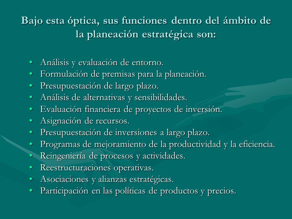 Bajo esta óptica, sus funciones dentro del ámbito de la planeación estratégica son: