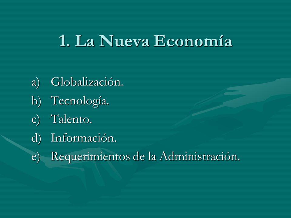 1. La Nueva Economía Globalización. Tecnología. Talento. Información.