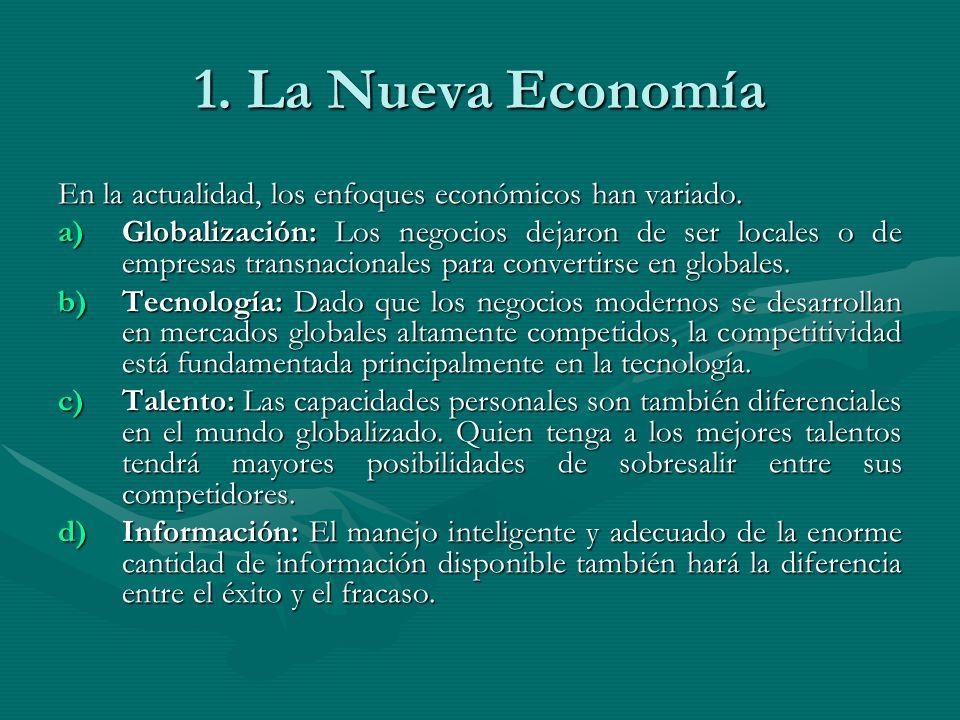 1. La Nueva Economía En la actualidad, los enfoques económicos han variado.