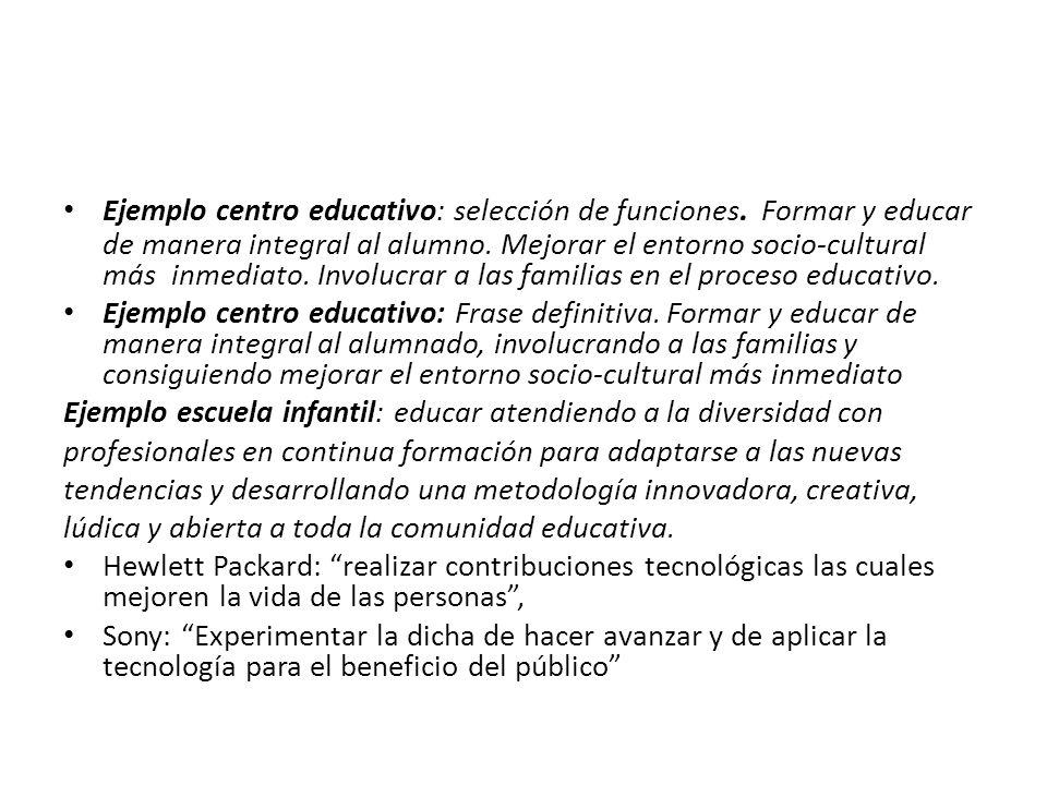 Ejemplo centro educativo: selección de funciones