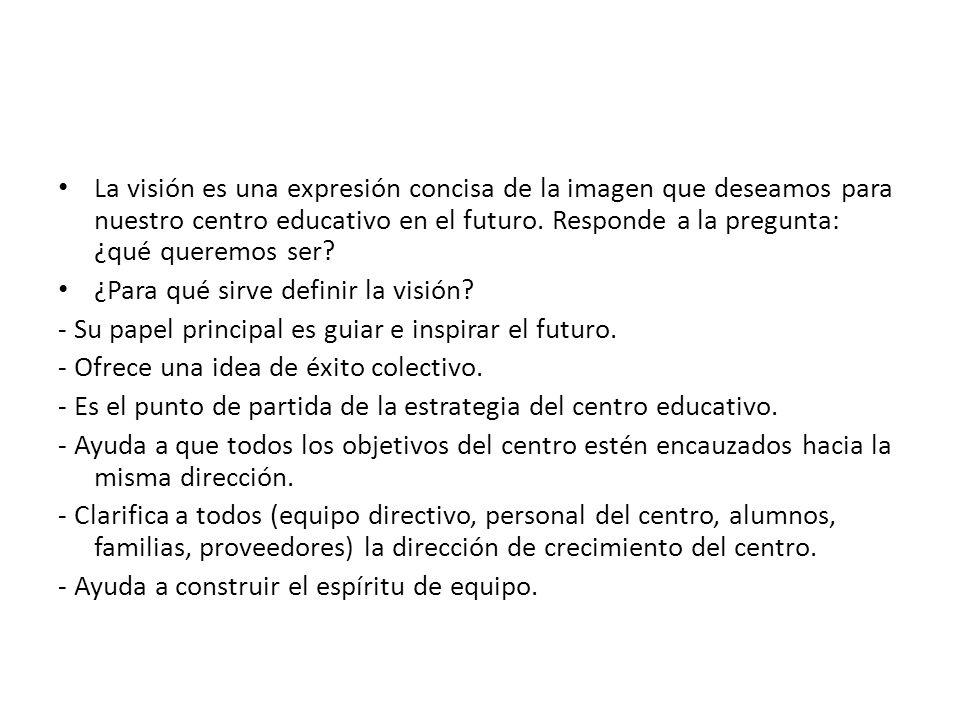 La visión es una expresión concisa de la imagen que deseamos para nuestro centro educativo en el futuro. Responde a la pregunta: ¿qué queremos ser