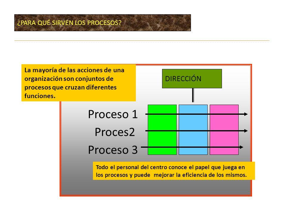 Proceso 1 Proces2 Proceso 3 DIRECCIÓN ¿PARA QUÉ SIRVEN LOS PROCESOS