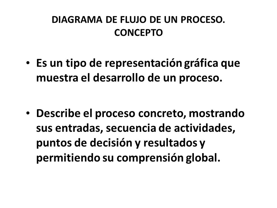 DIAGRAMA DE FLUJO DE UN PROCESO. CONCEPTO