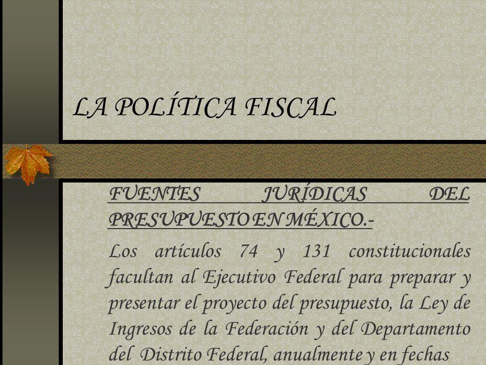 LA POLÍTICA FISCAL FUENTES JURÍDICAS DEL PRESUPUESTO EN MÉXICO.-