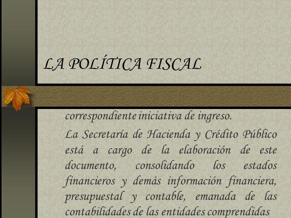 LA POLÍTICA FISCAL correspondiente iniciativa de ingreso.