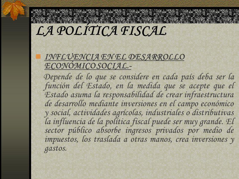LA POLÍTICA FISCAL INFLUENCIA EN EL DESARROLLO ECONÓMICO SOCIAL.-
