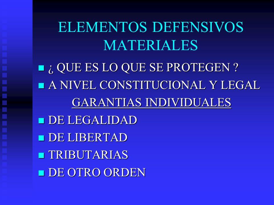 ELEMENTOS DEFENSIVOS MATERIALES