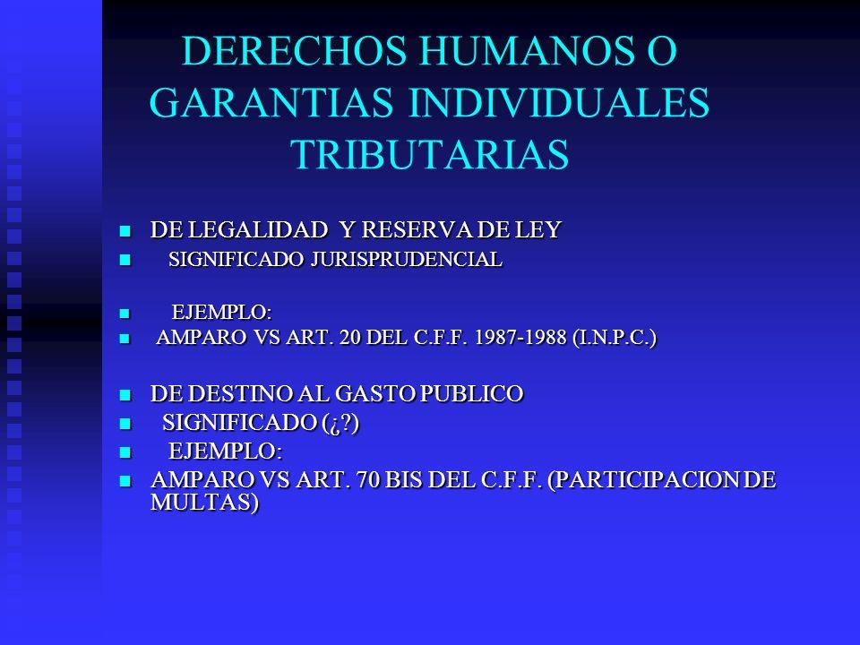 DERECHOS HUMANOS O GARANTIAS INDIVIDUALES TRIBUTARIAS