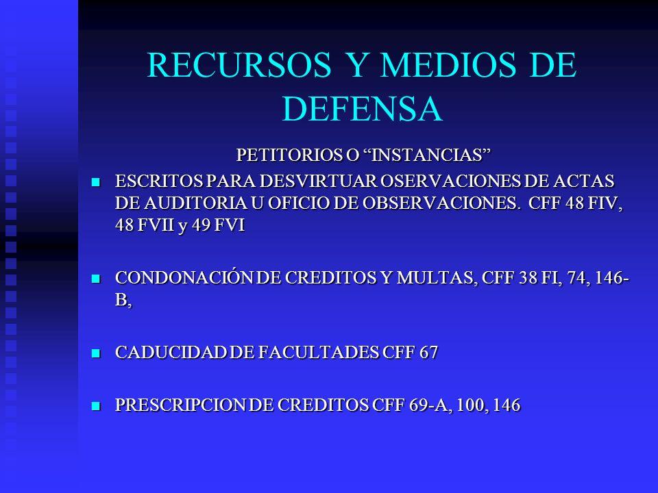 RECURSOS Y MEDIOS DE DEFENSA