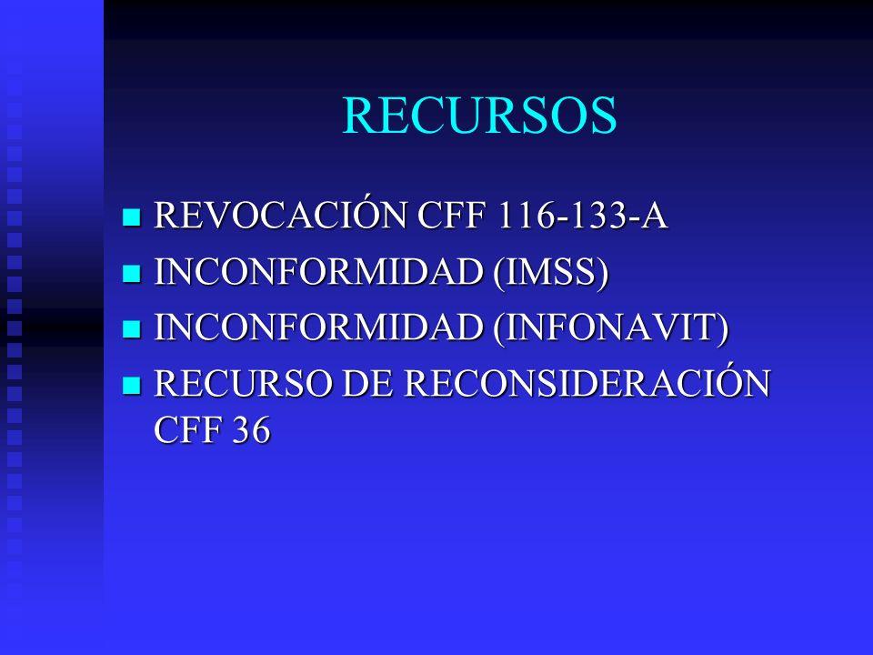 RECURSOS REVOCACIÓN CFF 116-133-A INCONFORMIDAD (IMSS)