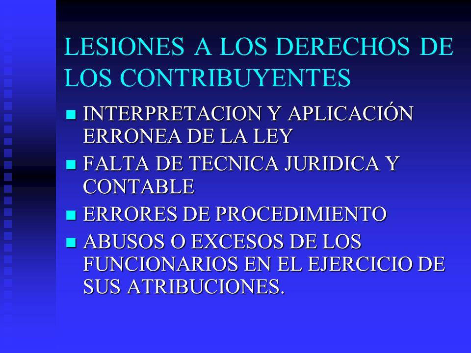 LESIONES A LOS DERECHOS DE LOS CONTRIBUYENTES
