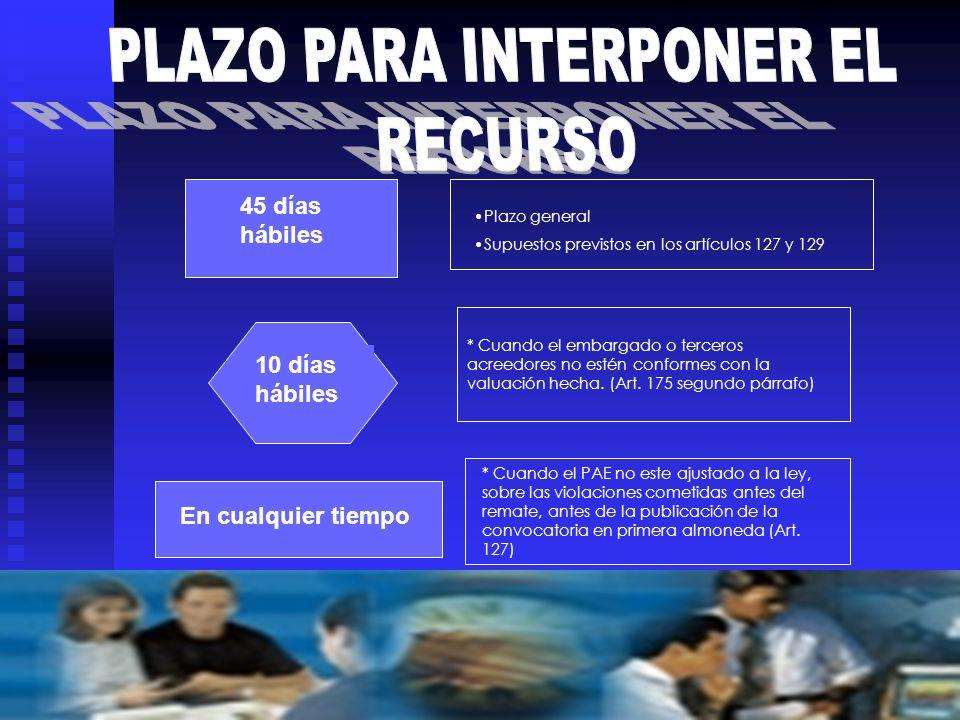 PLAZO PARA INTERPONER EL