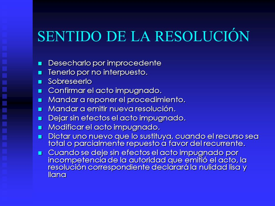SENTIDO DE LA RESOLUCIÓN