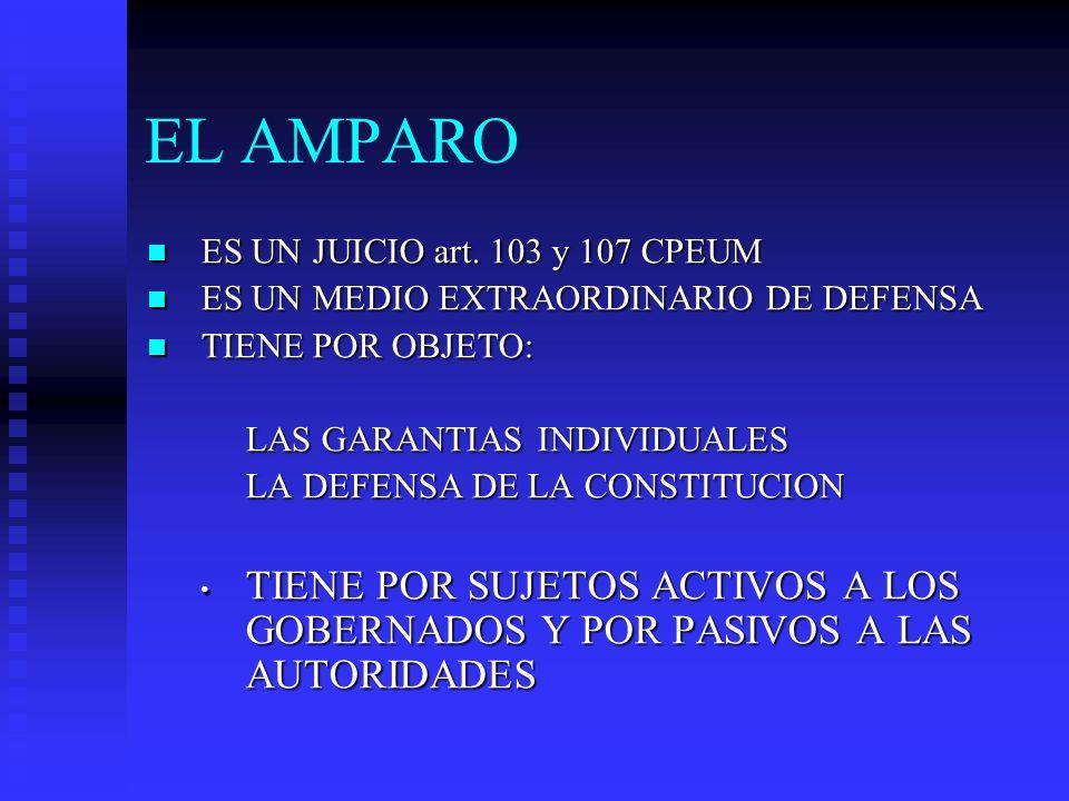 EL AMPARO ES UN JUICIO art. 103 y 107 CPEUM. ES UN MEDIO EXTRAORDINARIO DE DEFENSA. TIENE POR OBJETO: