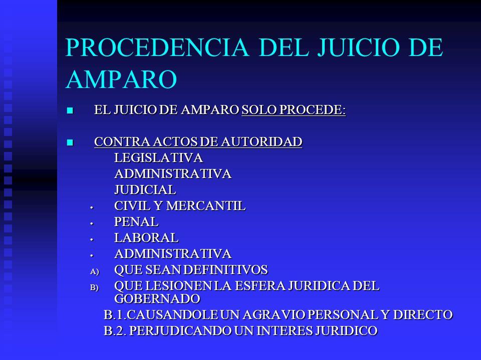 PROCEDENCIA DEL JUICIO DE AMPARO