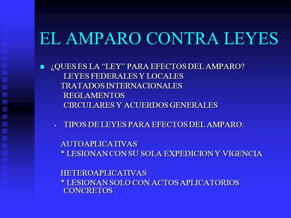 EL AMPARO CONTRA LEYES ¿QUES ES LA LEY PARA EFECTOS DEL AMPARO