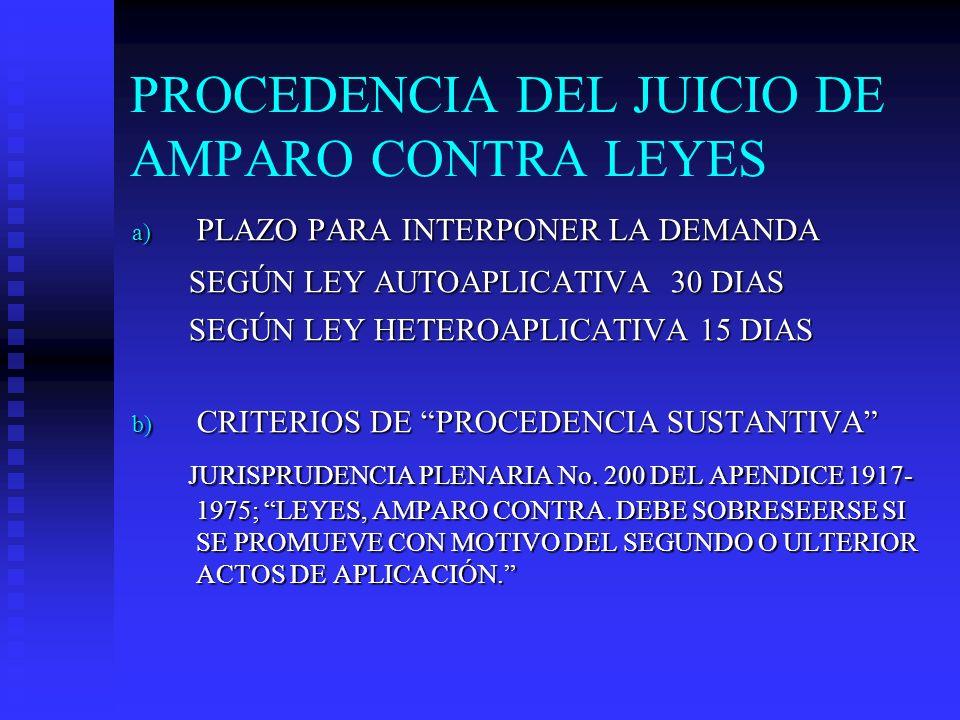 PROCEDENCIA DEL JUICIO DE AMPARO CONTRA LEYES