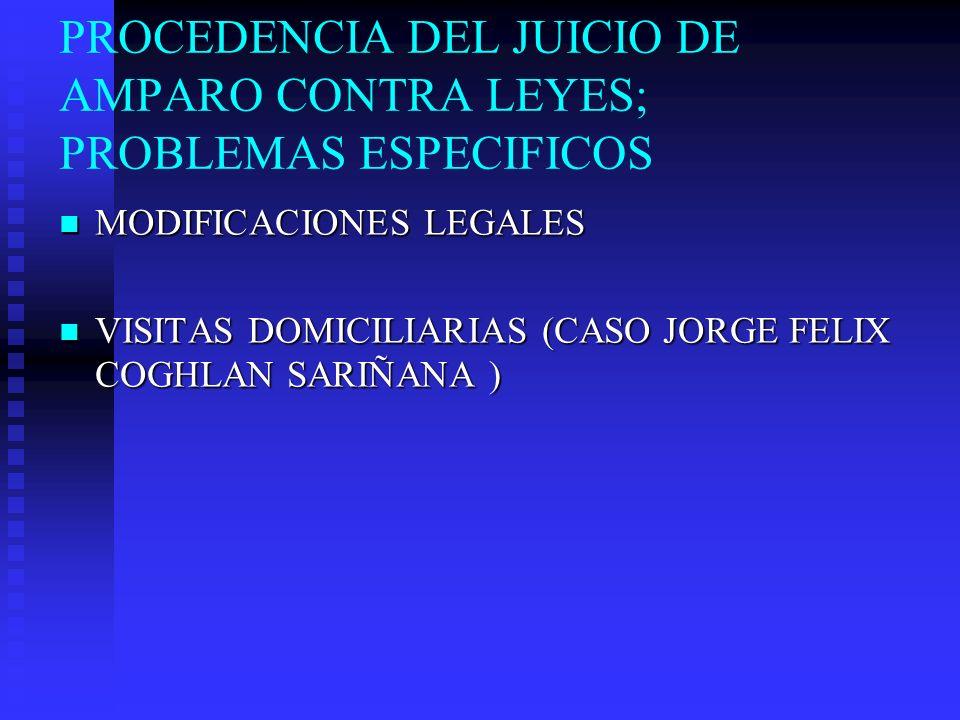PROCEDENCIA DEL JUICIO DE AMPARO CONTRA LEYES; PROBLEMAS ESPECIFICOS