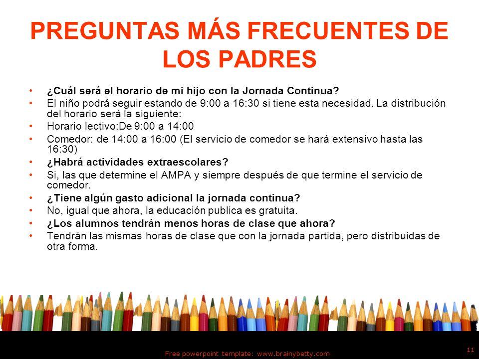 PREGUNTAS MÁS FRECUENTES DE LOS PADRES