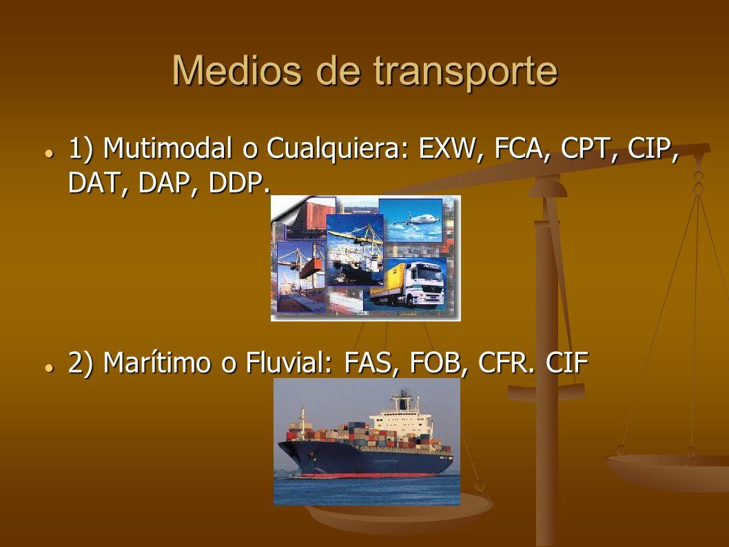 Medios de transporte 1) Mutimodal o Cualquiera: EXW, FCA, CPT, CIP, DAT, DAP, DDP.