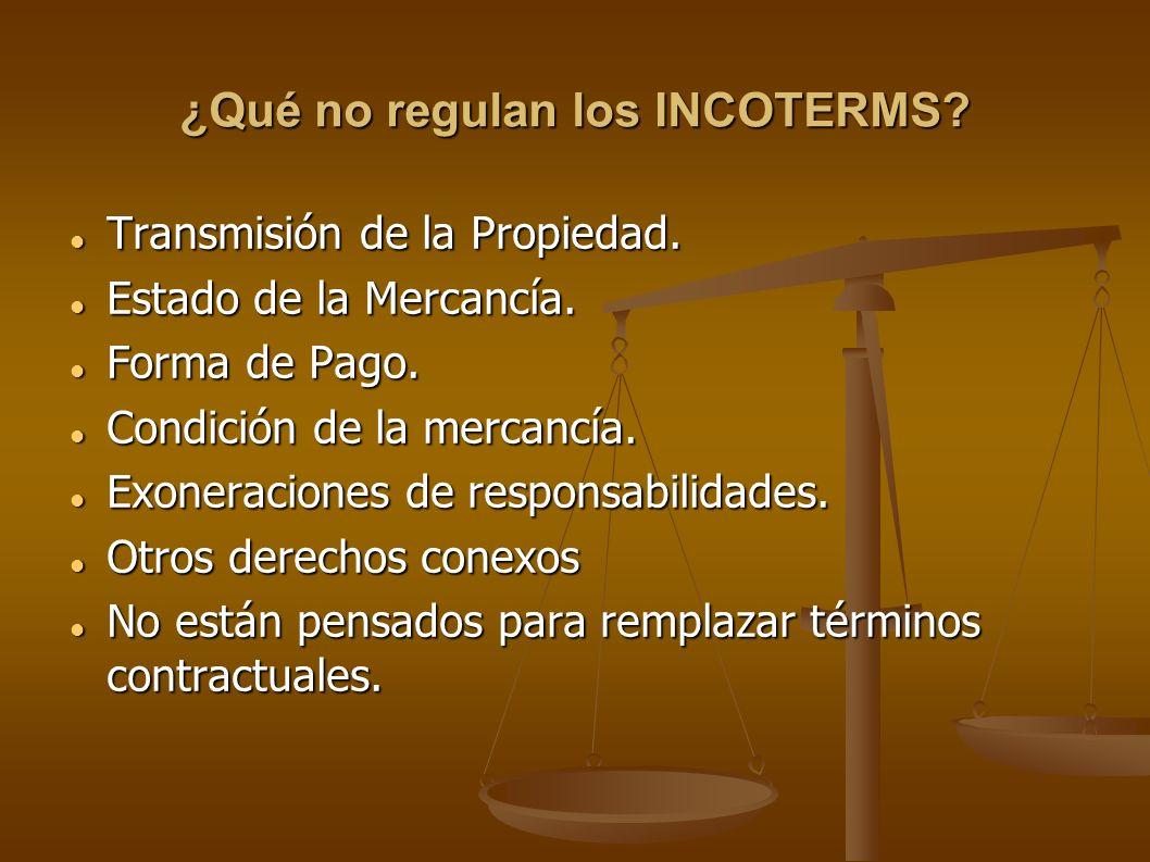 ¿Qué no regulan los INCOTERMS