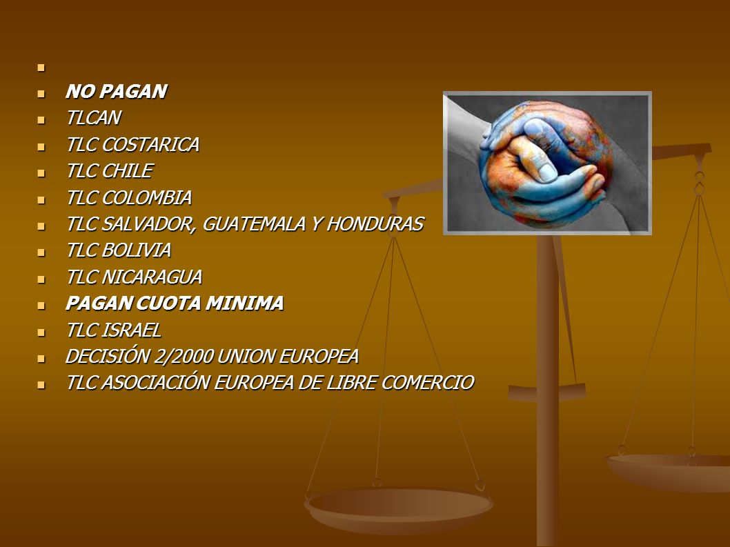 NO PAGAN TLCAN. TLC COSTARICA. TLC CHILE. TLC COLOMBIA. TLC SALVADOR, GUATEMALA Y HONDURAS. TLC BOLIVIA.