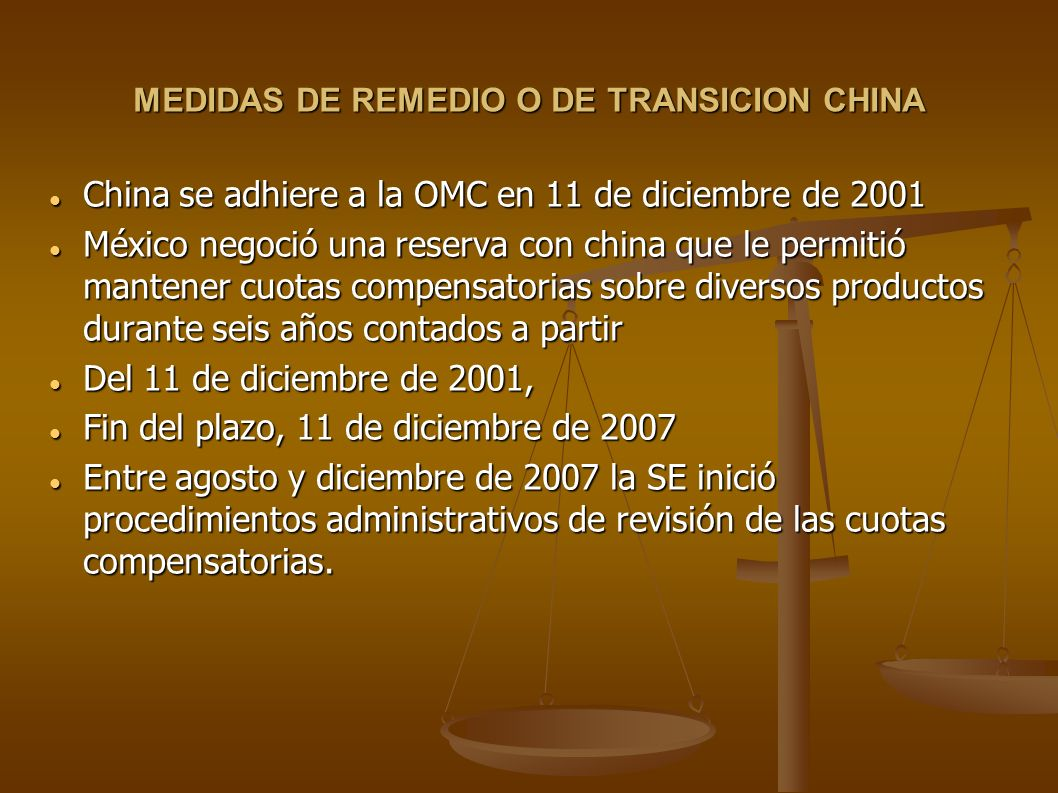 MEDIDAS DE REMEDIO O DE TRANSICION CHINA