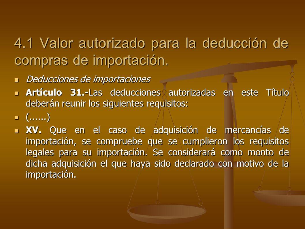 4.1 Valor autorizado para la deducción de compras de importación.