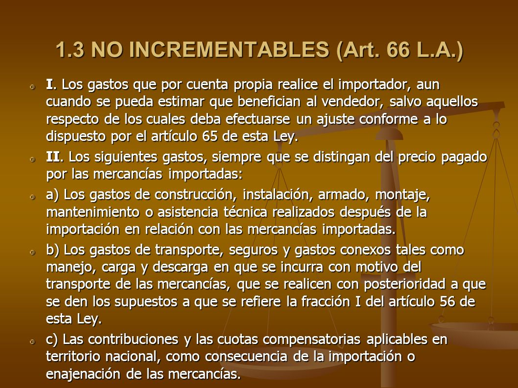 1.3 NO INCREMENTABLES (Art. 66 L.A.)