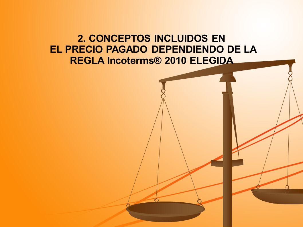 2. CONCEPTOS INCLUIDOS EN EL PRECIO PAGADO DEPENDIENDO DE LA