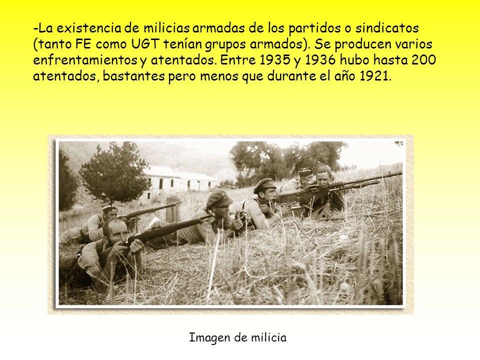 -La existencia de milicias armadas de los partidos o sindicatos (tanto FE como UGT tenían grupos armados). Se producen varios enfrentamientos y atentados. Entre 1935 y 1936 hubo hasta 200 atentados, bastantes pero menos que durante el año 1921. 