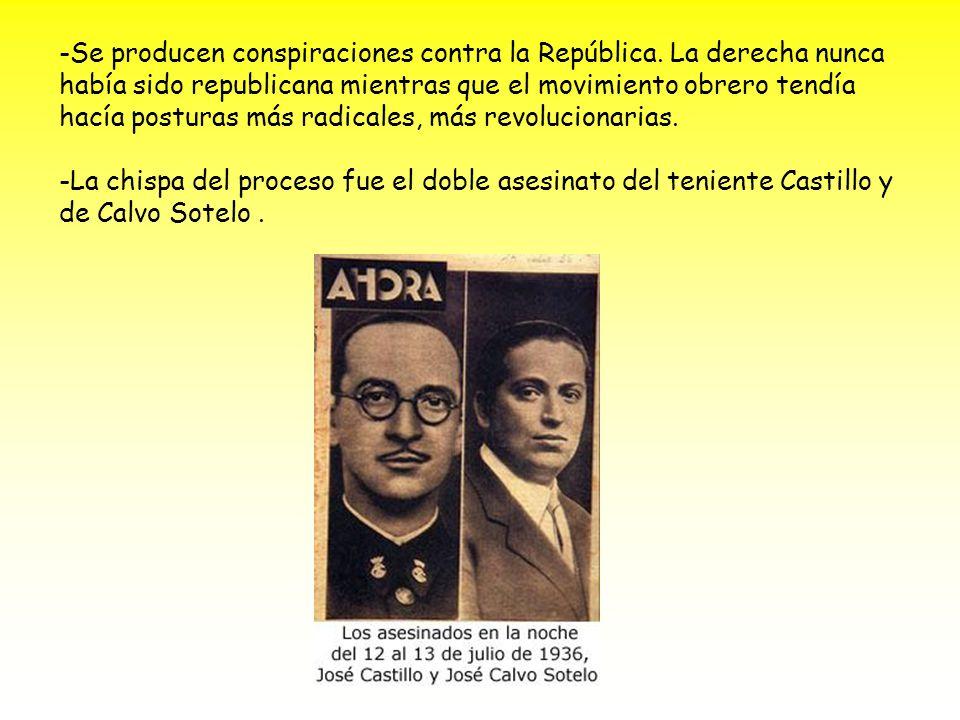 -Se producen conspiraciones contra la República