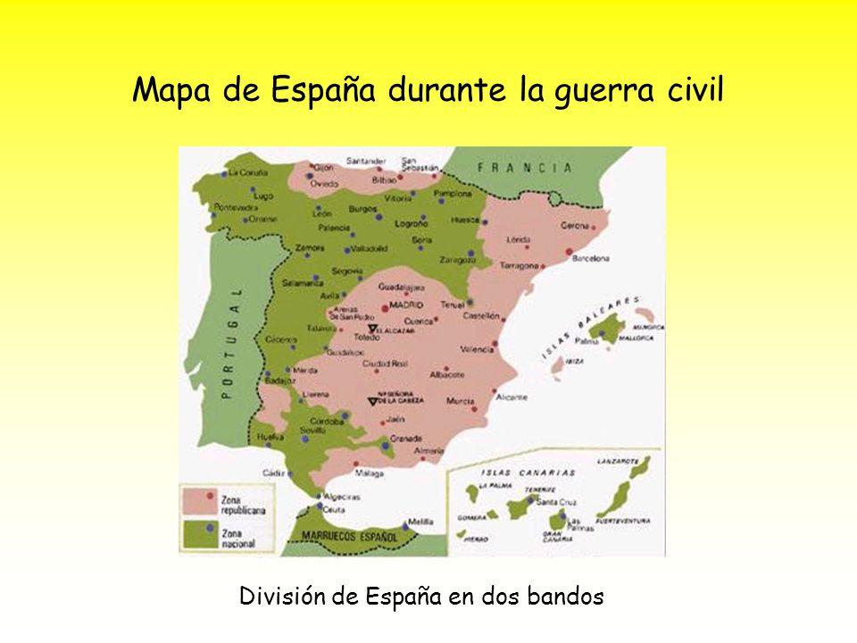 Mapa de España durante la guerra civil