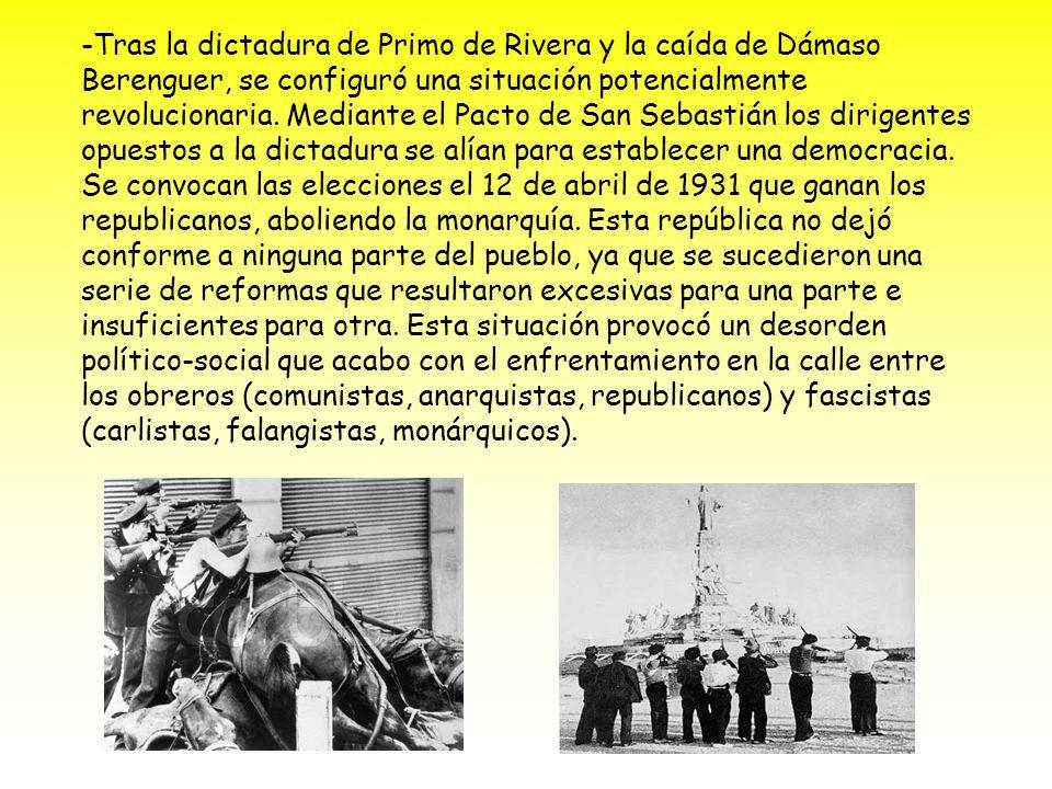 -Tras la dictadura de Primo de Rivera y la caída de Dámaso Berenguer, se configuró una situación potencialmente revolucionaria.
