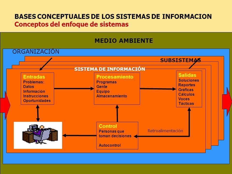 BASES CONCEPTUALES DE LOS SISTEMAS DE INFORMACION Conceptos del enfoque de sistemas