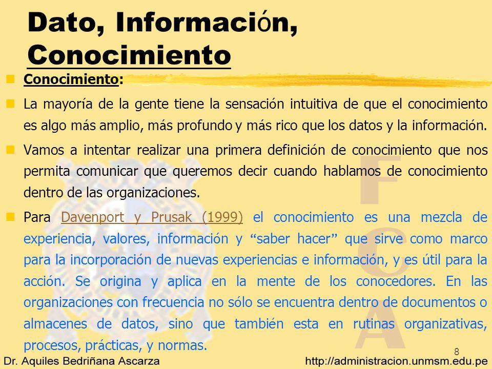 Dato, Información, Conocimiento