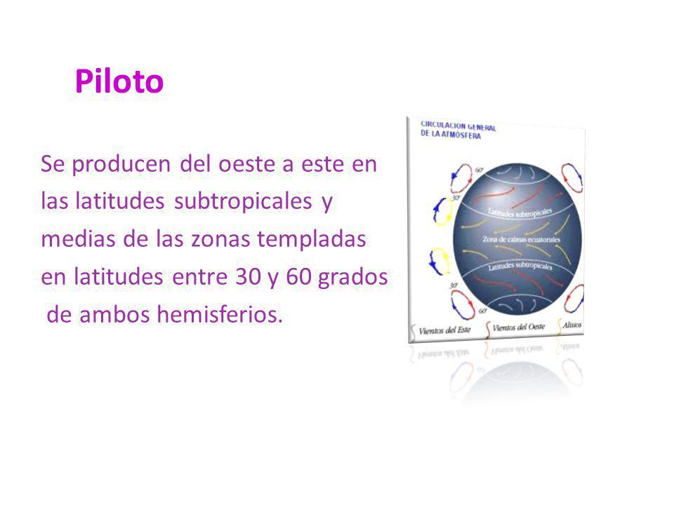 Piloto Se producen del oeste a este en las latitudes subtropicales y