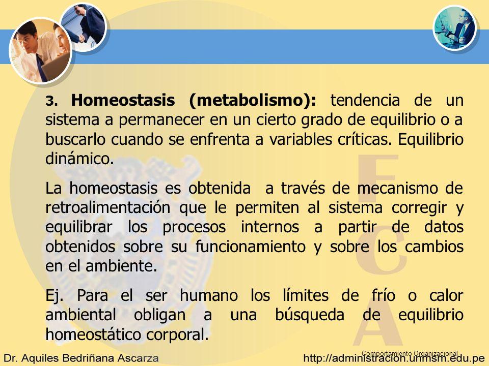 3. Homeostasis (metabolismo): tendencia de un sistema a permanecer en un cierto grado de equilibrio o a buscarlo cuando se enfrenta a variables críticas. Equilibrio dinámico.
